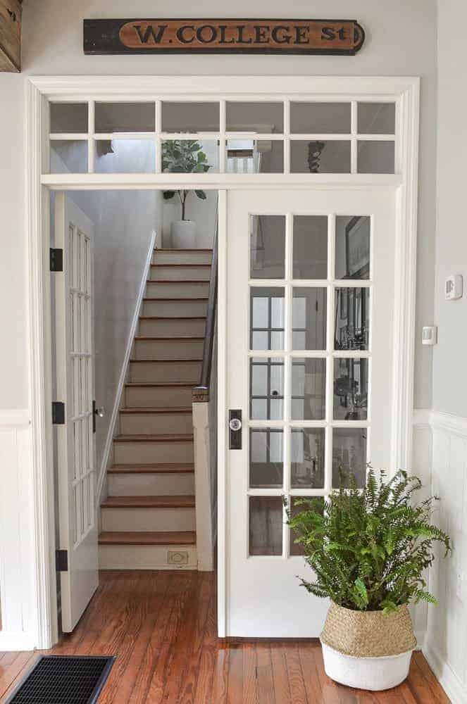 how to add interior french door with a transom window to a hallway to replace a hollow core door