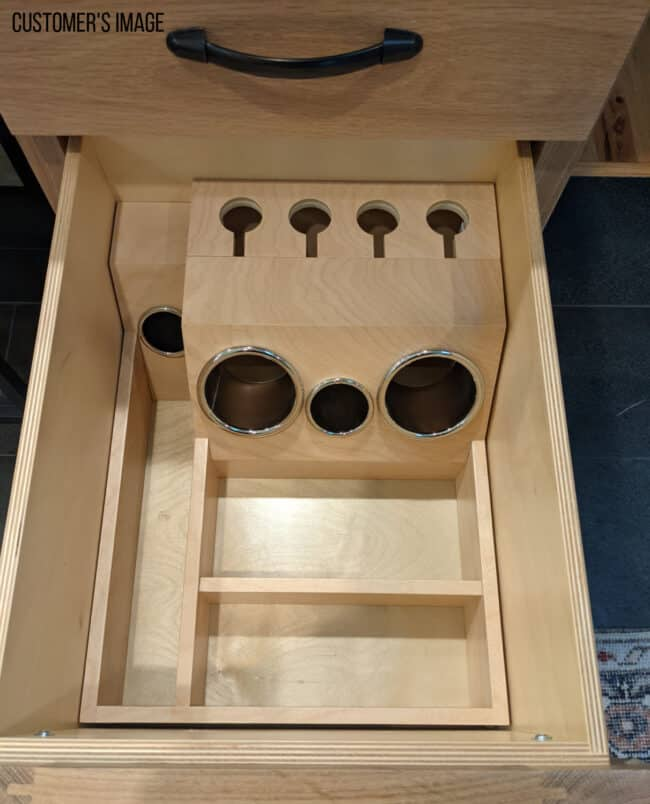 custom drawer organizer grooming station for shallow drawers