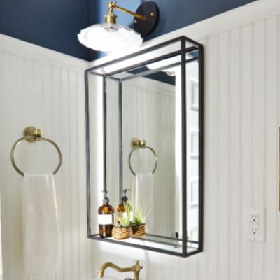 Modern Industrial Black Steel Metal Double Framed Bathroom Mirror With A Shelf Simplicity In The South